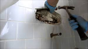 Tile Bathroom Wall by Tub And Shower Valve Replaced In Tile Wall Youtube