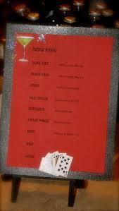 casino poker or gambling drink menu glitter black card stock and