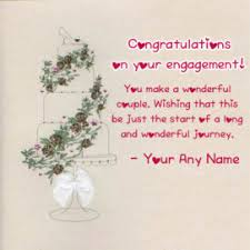 write name on happy engagement wishes card and greeting card my
