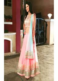 Light Orange Color by Orange Color Net With Embroidery Semi Stitched Lehenga Choli