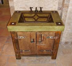 custom made vanity with rustic base and integral concrete sink by
