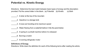 potential and kinetic energy worksheets worksheets releaseboard