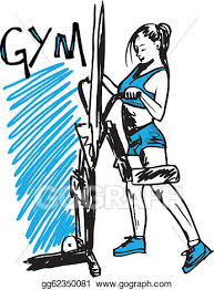 vector stock sketch of a woman working out at the gym with