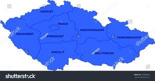 Map Of Czech Republic Labeled Vector Map Czech Republic Provinces Stock Vector 129990845