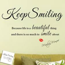 keep smiling because life beautiful thing marilyn monroe color black package wall sticker plus transfer film style classical art lettering stickers usage cor decals murals for
