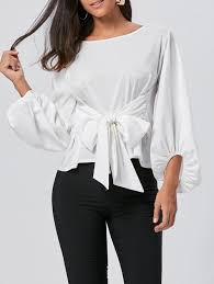 belted blouse 2018 puff sleeve belted blouse white s in blouses store