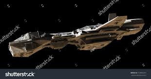 science fiction illustration interplanetary spaceship isolated