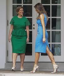 melania trump wears blue dress to meet panama u0027s president daily