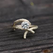 tree branch engagement ring gold branch engagement ring clear white moissanite forever