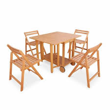 table avec 4 chaises salon de jardin en bois pliable merida table rectangle pliable