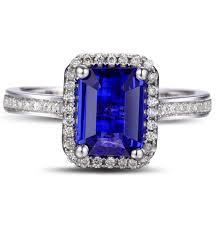 sapphire emerald cut engagement rings antique 1 50 carat emerald cut blue sapphire and halo