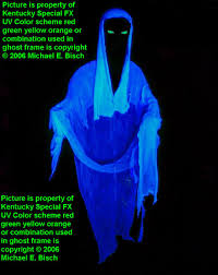 halloween faceless blue hooded black light floating ghost prop