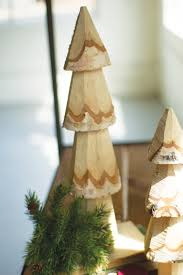 rustic wood carved christmas trees set of two woodwaves
