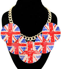 Englands Flag Printed England Flag Circle Dangle Gold Necklace U2013 A Touch Of Fun