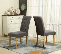 spare repair grey linen fabric dining chairs scroll office room