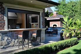 outdoor kitchen bar stools pool house kitchen with bar transitional deck patio