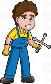 a mechanic holding a cross wrench clipart vector