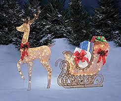 68 gold reindeer sleigh gift box presents display