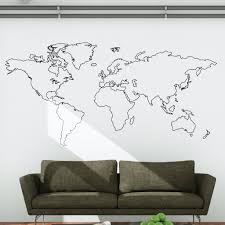 Outline World Map by World Map Outline Wall Decal Wallboss Wall Stickers Wall Art