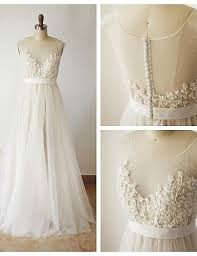 wedding for dress lace chiffon wedding dress with chagne lining 3