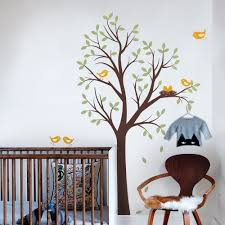 tree with birds and nest decal tree wall decal bird family wall decal