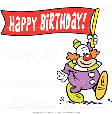 circus clipart of a happy clown carrying a happy birthday banner