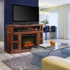 Media Electric Fireplace Pleasant Hearth Rochester Electric Fireplace And Media Console
