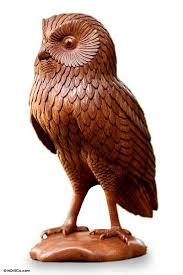 handcrafted wood bird sculpture owl bird sculpture