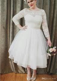 plus size gown wedding dresses lace sleeve plus size tea length gown wedding