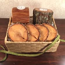 candle gift baskets wood candles and coasters gift basket tree wood manmadewoods