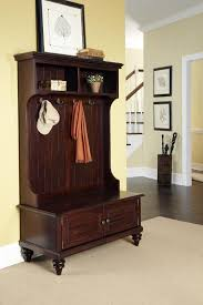 furniture large brown wood entryway bench with cabinet and coat