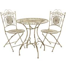 Metal Garden Table And Chairs Oriental Furniture Rustic Metal Garden Table Set Distressed White