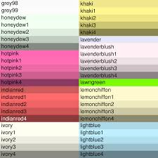 colour shades with names paint colours