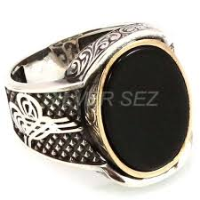 Ottoman Seal 925 Sterling Silver Ring Ottoman Tugra Seal Oval Hematite