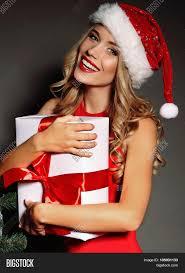 blonde santa red dress red image u0026 photo bigstock