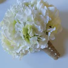 White Hydrangea Bouquet White Hydrangea And White Peony Bridal Bouquet With Burlap Wrap
