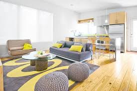 yellow gray and blue living room home decorating interior