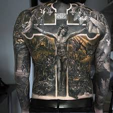 black ink 3d jesus on cross on back