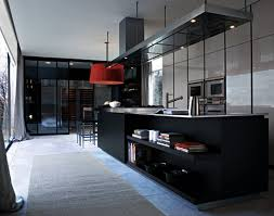 kitchen kitchen with luxury design in black comes with a closet