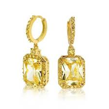 citrine earrings gold tone cz huggie hoop emerald cut citrine color dangle earrings