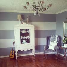 How To Paint An Accent Wall by Striped Accent Wall Gray Blue Paint Wide Stripes For The Home
