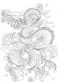 black outline japanese dragon with flowers tattoo design