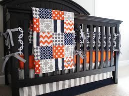 boy nursery bedding set orange navy blue gray crib bedding