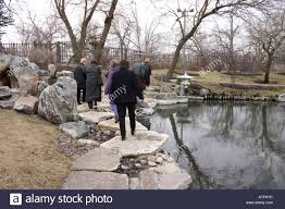 japanese garden on the south side of chicago in winter stock photo