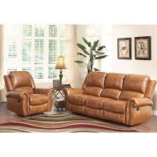 cognac leather reclining sofa abbyson skyler cognac 2 piece leather reclining living room set 2