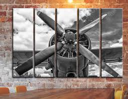 big set engine propeller airplane aircraft wall art on canvas zoom