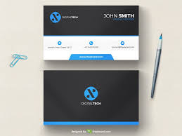 and blue minimal business card template freebcard