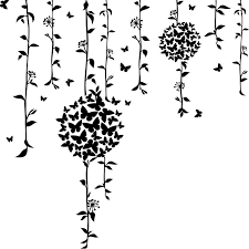 butterfly flowers in willow branches decal decals for home decor