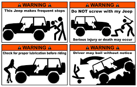 jeep decals funny jeep warning stickers pack of 4 and free shipping