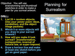 planning for surrealism objective you will use brainstorming and